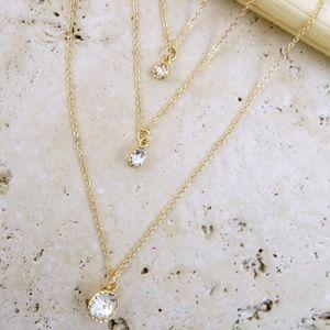 Delicate 3-Layer Gold CZ Pendant Necklace!